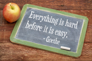 Everything is hard before it is easy - Goethe quote on a slate blackboard against red barn wood